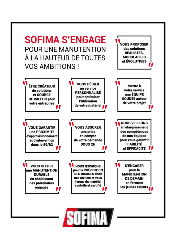 Engagements SOFIMA tableau agence
